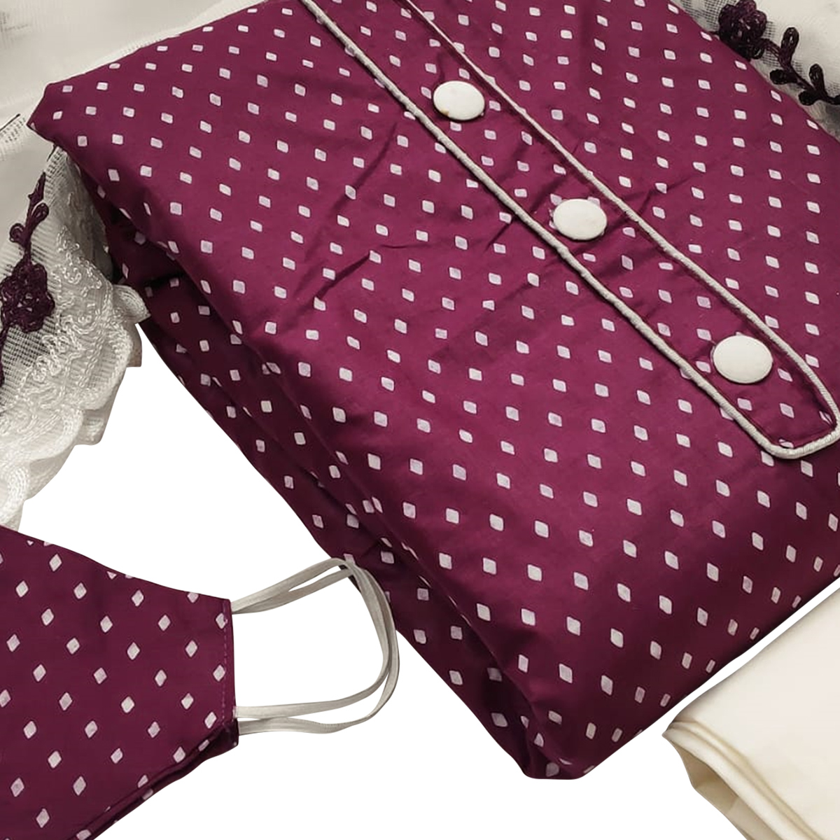 Charming Wine Colored Casual Wear Printed Cotton Dress Material