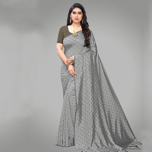 Adorable Grey Colored Party Wear Printed Silk Blend Saree With Tassels