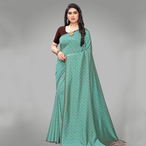 Glorious Green Colored Party Wear Printed Silk Blend Saree With Tassels