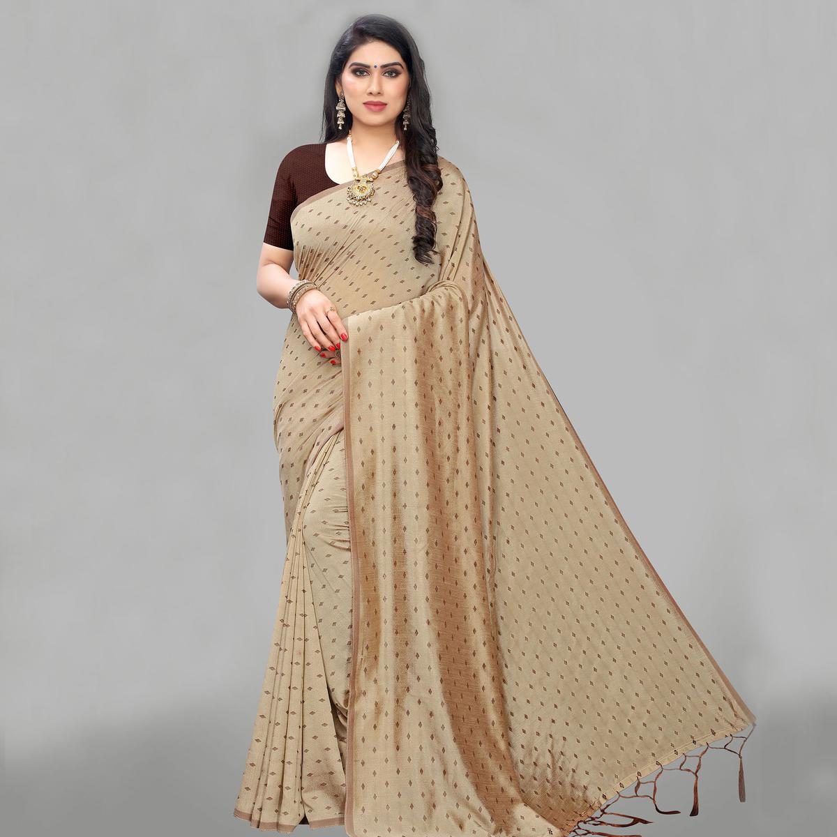 Attractive Beige Colored Party Wear Printed Silk Blend Saree With Tassels