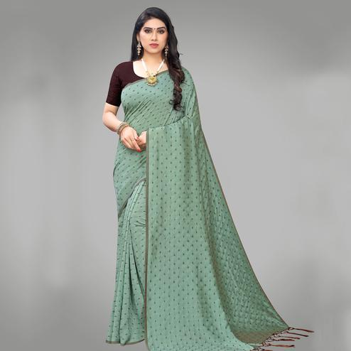 Beautiful Green Colored Party Wear Printed Silk Blend Saree With Tassels