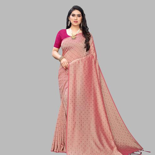 Graceful Peach Colored Party Wear Printed Silk Blend Saree With Tassels