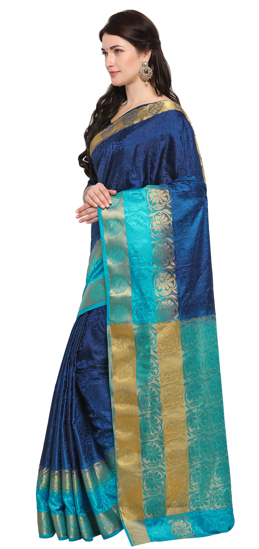 Blue Festive Wear Banarsi Cotton Silk Saree