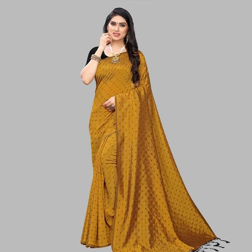 Blooming Mustard Yellow Colored Party Wear Printed Silk Blend Saree With Tassels