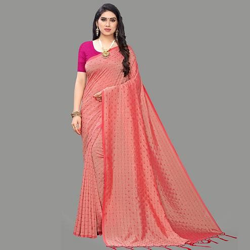 Charming Pink Colored Party Wear Printed Silk Blend Saree With Tassels