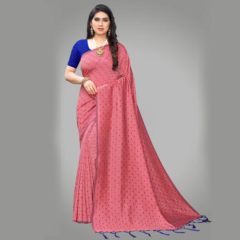 Delightful Pink Colored Party Wear Printed Silk Blend Saree With Tassels