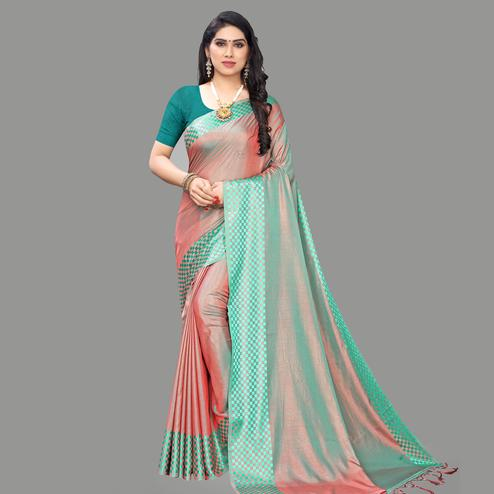 Engrossing Pink - Sea Green Colored Party Wear Printed Silk Blend Saree With Tassels