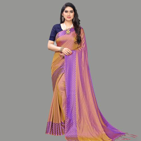 Captivating Rust Orange Colored Party Wear Printed Silk Blend Saree With Tassels
