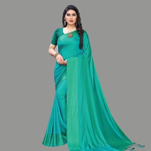 Innovative Green Colored Party Wear Printed Silk Blend Saree With Tassels