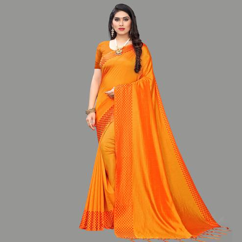 Eye-catching Orange Colored Party Wear Printed Silk Blend Saree With Tassels
