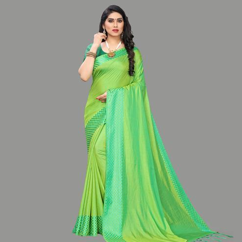Fantastic Green Colored Party Wear Printed Silk Blend Saree With Tassels
