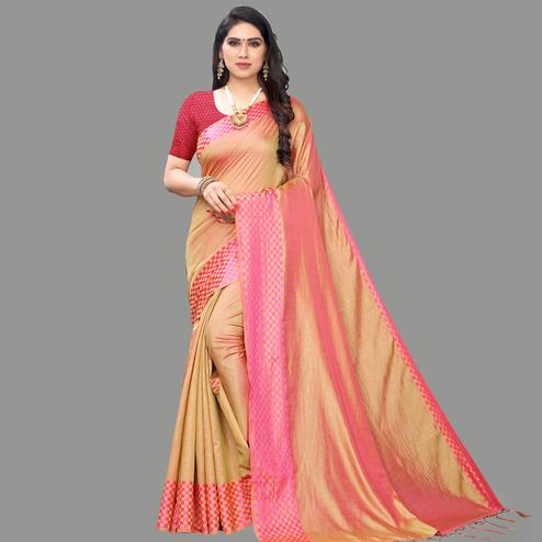 Amazing Light Orange Colored Party Wear Printed Silk Blend Saree With Tassels