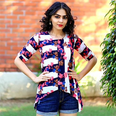 Beautiful Multi Floral Digital Print Casual Crape Top