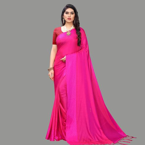 Gorgeous Pink Colored Party Wear Printed Silk Blend Saree With Tassels