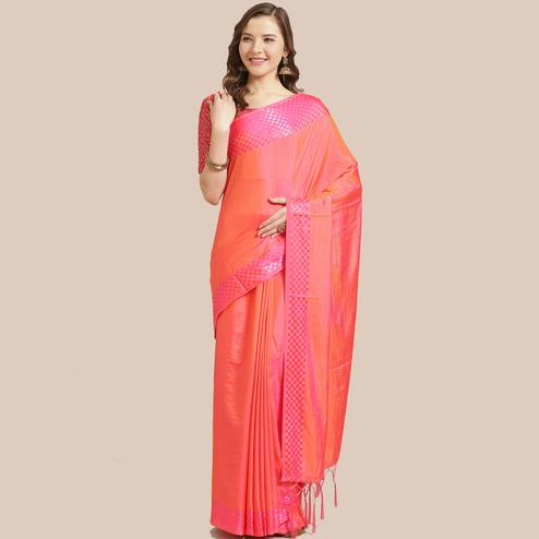 Blissful Dark Peach Colored Party Wear Printed Silk Blend Saree With Tassels