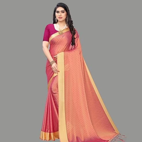Ideal Pink Colored Party Wear Printed Poly Georgette Saree With Tassels