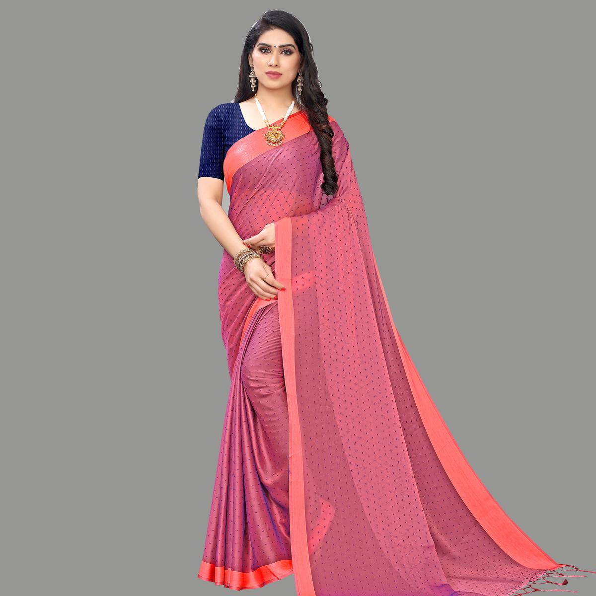 Impressive Mauve Colored Party Wear Printed Poly Georgette Saree With Tassels