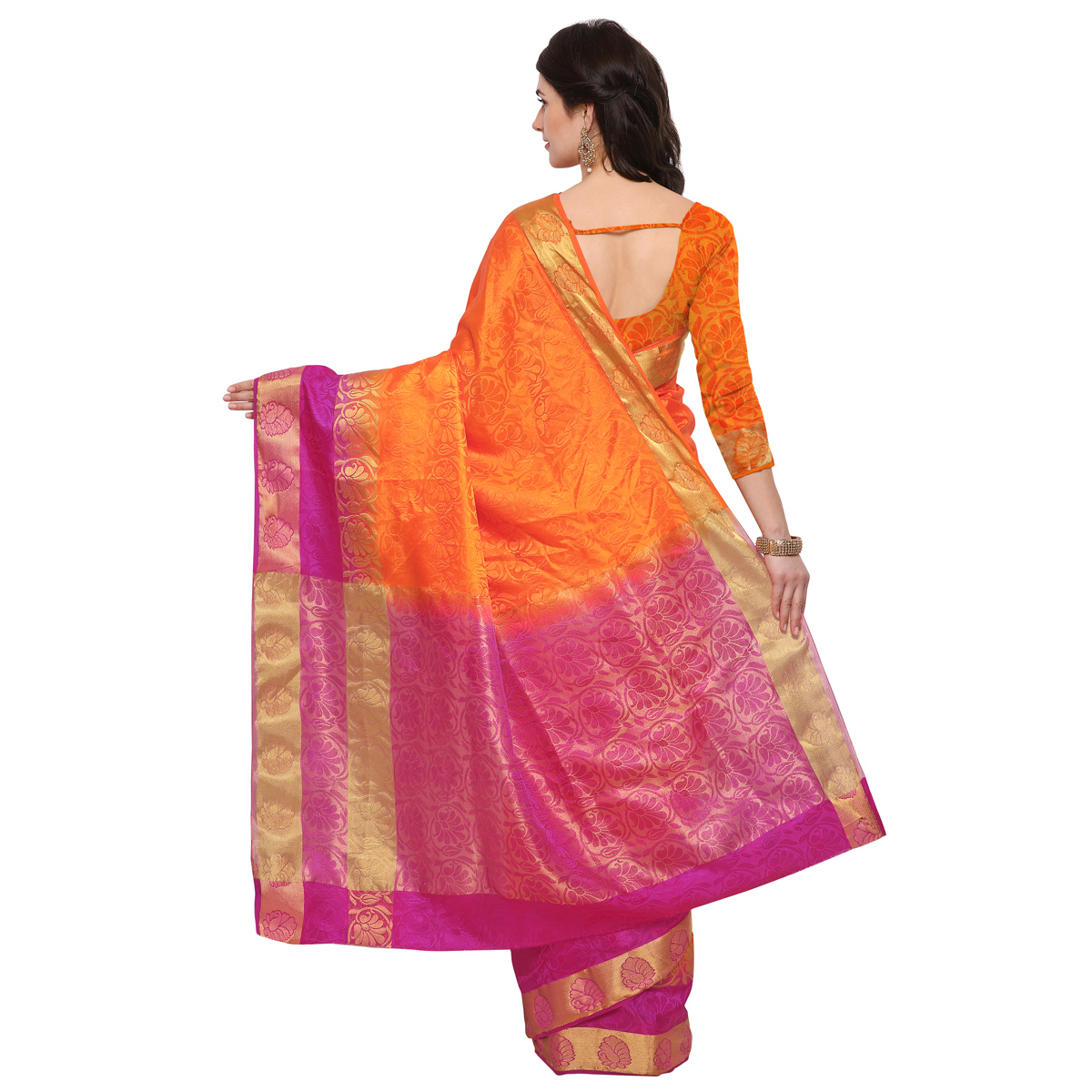 Orange & Pink Festive Wear Banarsi Cotton Silk Saree