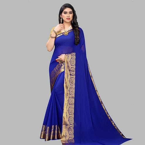 Ravishing Blue Colored Festive Wear Woven Chiffon Saree