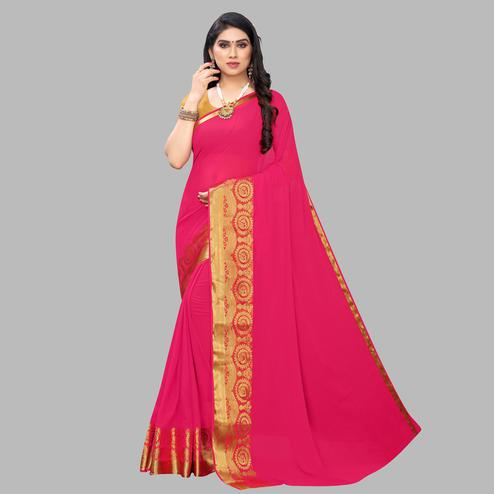 Staring Pink Colored Festive Wear Woven Chiffon Saree