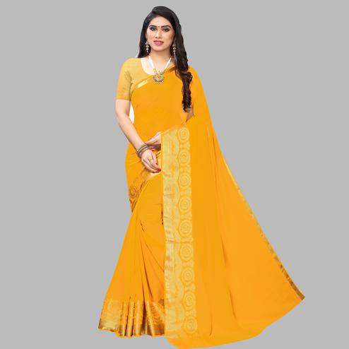 Dazzling Yellow Colored Festive Wear Woven Chiffon Saree
