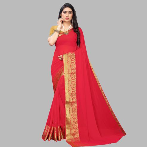 Surpassing Red Colored Festive Wear Woven Chiffon Saree