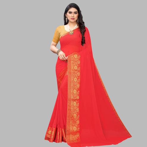 Intricate Coral Red Colored Festive Wear Woven Chiffon Saree