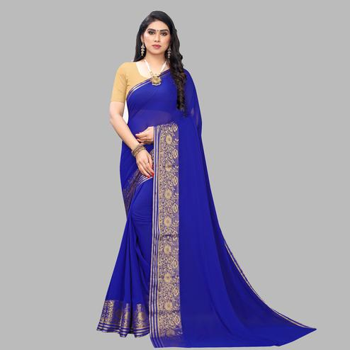 Arresting Blue Colored Festive Wear Woven Chiffon Saree