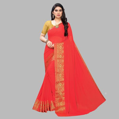Desirable Peach Colored Festive Wear Woven Chiffon Saree