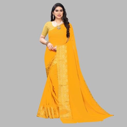 Exotic Yellow Colored Festive Wear Woven Chiffon Saree