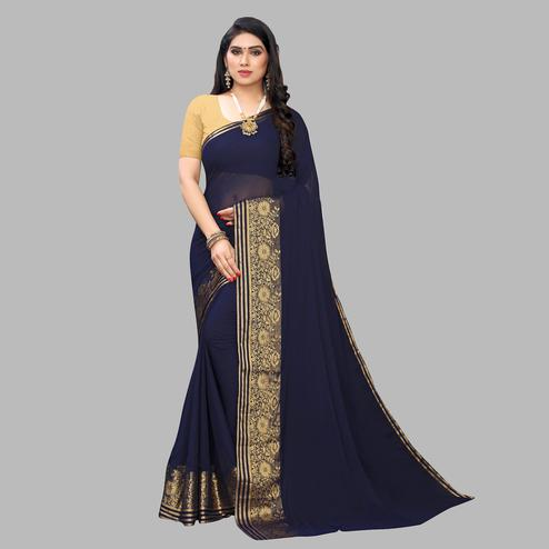 Radiant Navy Blue Colored Festive Wear Woven Chiffon Saree