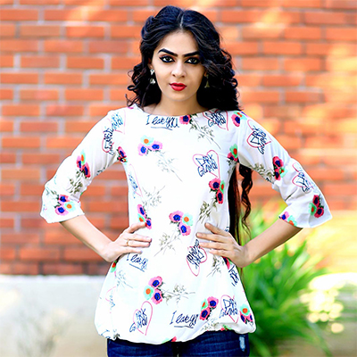 Charming White Digital Print Casual Crape Top