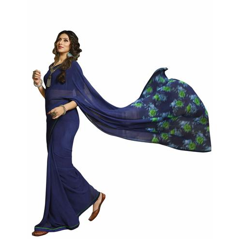 Blissful Blue Colored Casual Printed Georgette Saree
