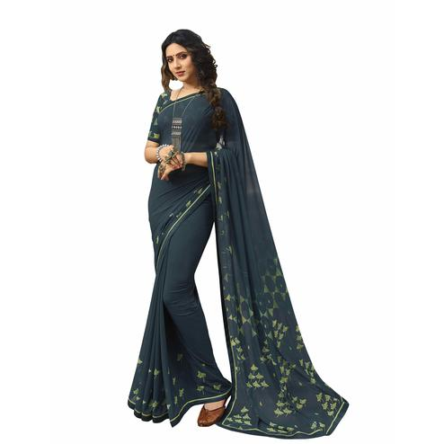 Ideal Dark Teal Blue Colored Casual Printed Georgette Saree