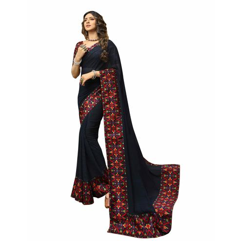Imposing Dark Blue Colored Casual Printed Georgette Saree