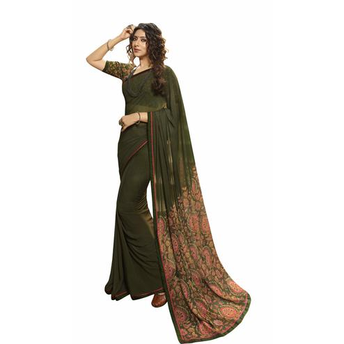 Lovely Dark Green Colored Casual Printed Georgette Saree