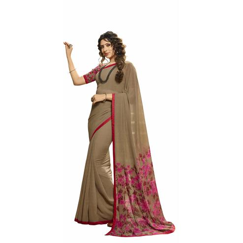 Majesty Grey Colored Casual Printed Georgette Saree
