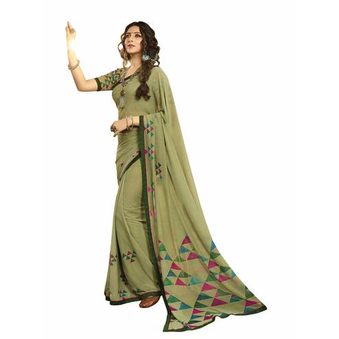 Impressive Mehendi Green Colored Casual Printed Georgette Saree