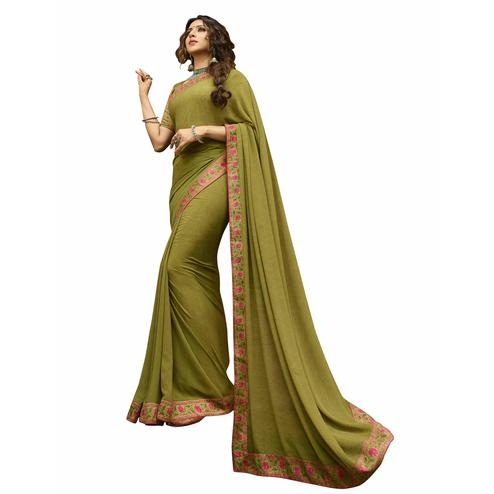 Mesmerising Olive Green Colored Casual Printed Georgette Saree