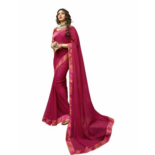 Breathtaking Pink Colored Casual Printed Georgette Saree