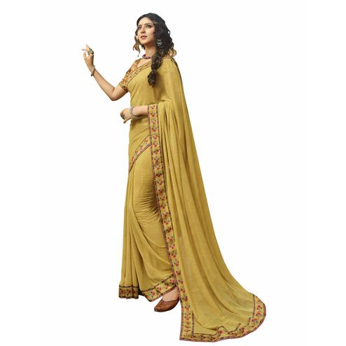 Ethnic Yellow Colored Casual Printed Georgette Saree