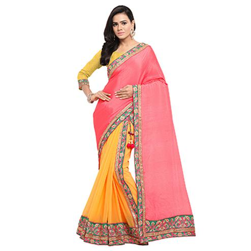 Yellow and Pink Festive Wear Satin Chiffon And Georgette Embroidered Lehenga Saree