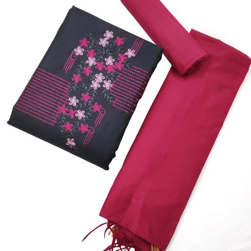 Amazing Dark Grey-Pink Colored Partywear Embroidered Khadi Cotton Dress Material