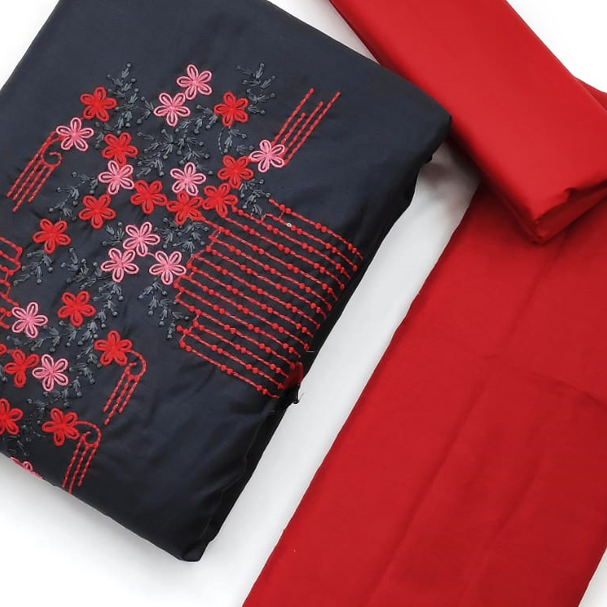 Gorgeous Dark Grey-Red Colored Partywear Embroidered Khadi Cotton Dress Material