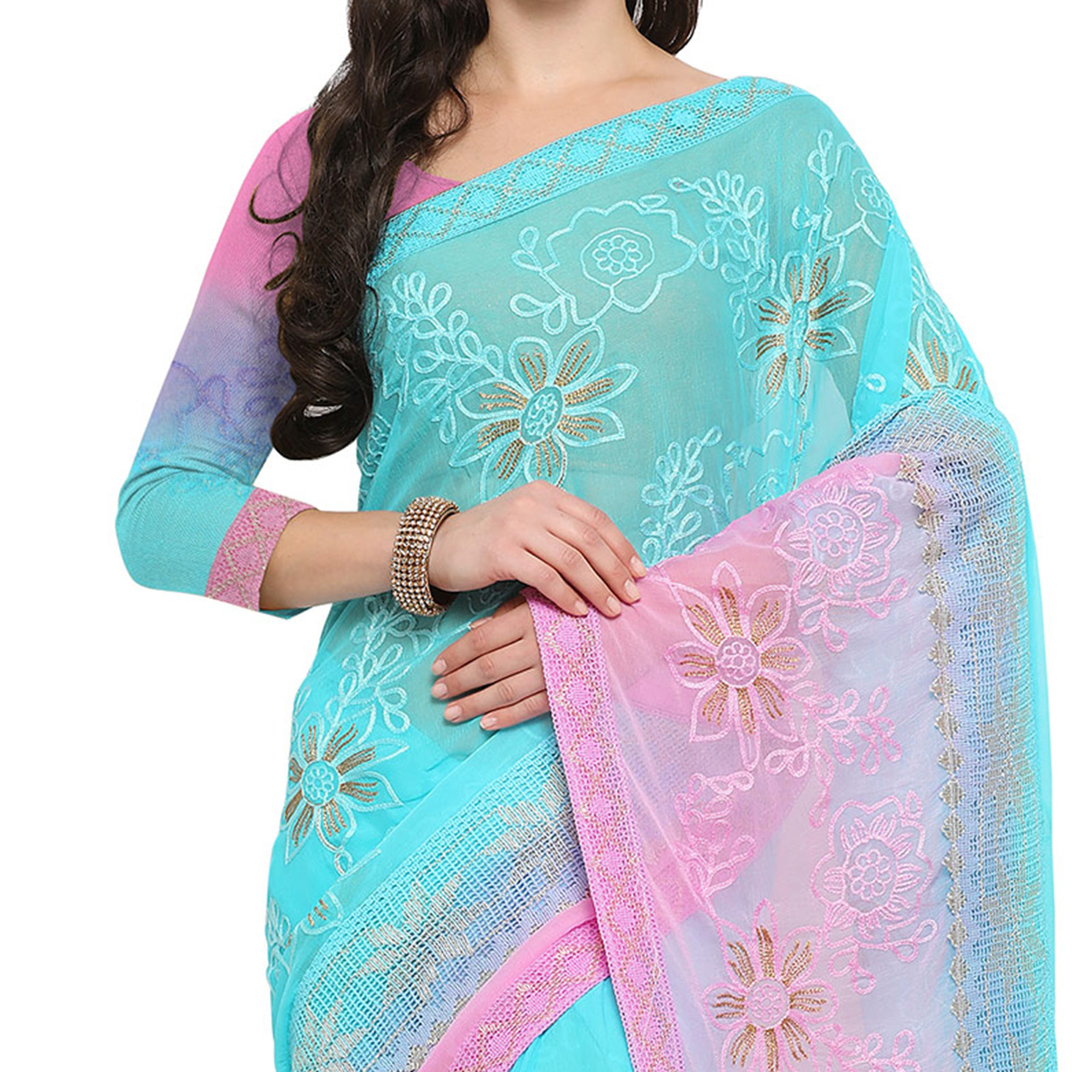 Fancy Blue And Pink Festive Wear Embroidered Chiffon Saree