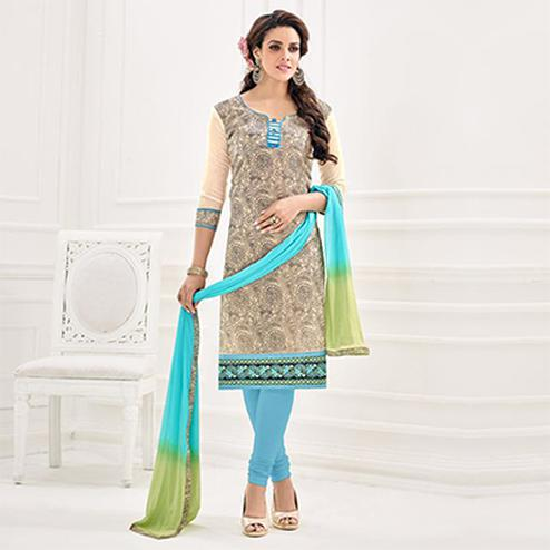 Cream - Blue Chanderi Salwar Suit