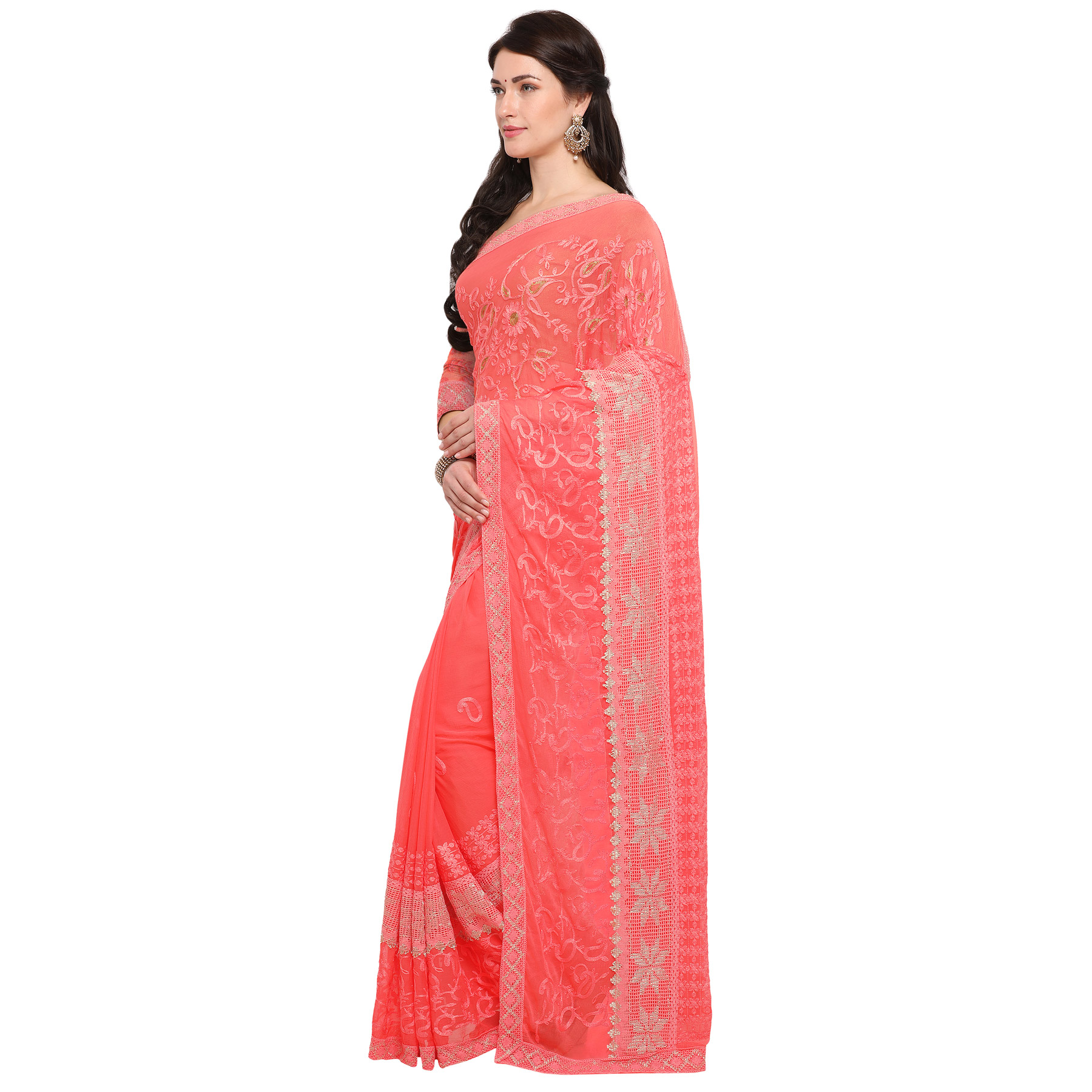 Fancy Peach Embroidered Chiffon Saree