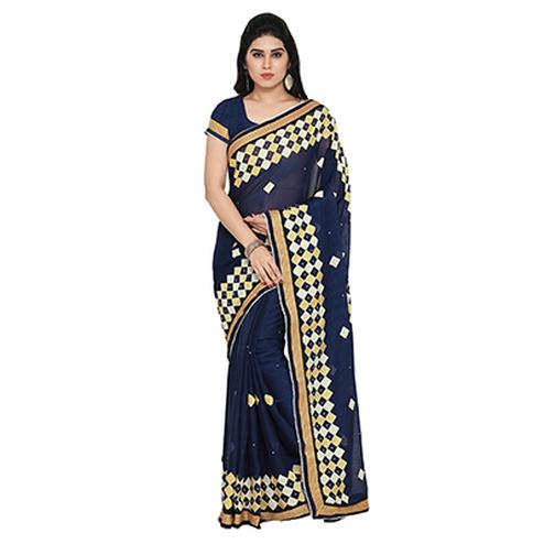 Blue Festive Wear Embroidered Chiffon Saree