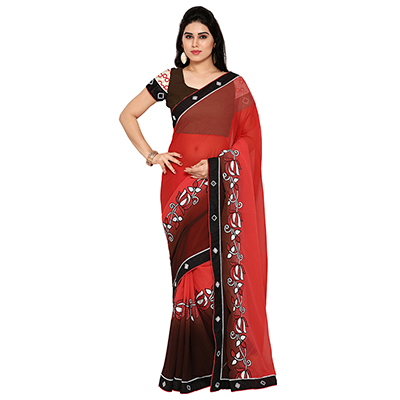 Red Festive Wear Embroidered Georgette Saree