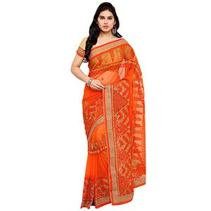 Orange Festive Wear Embroidered Net Saree